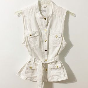 Guess White Vest Jacket with Gold Snap Closures